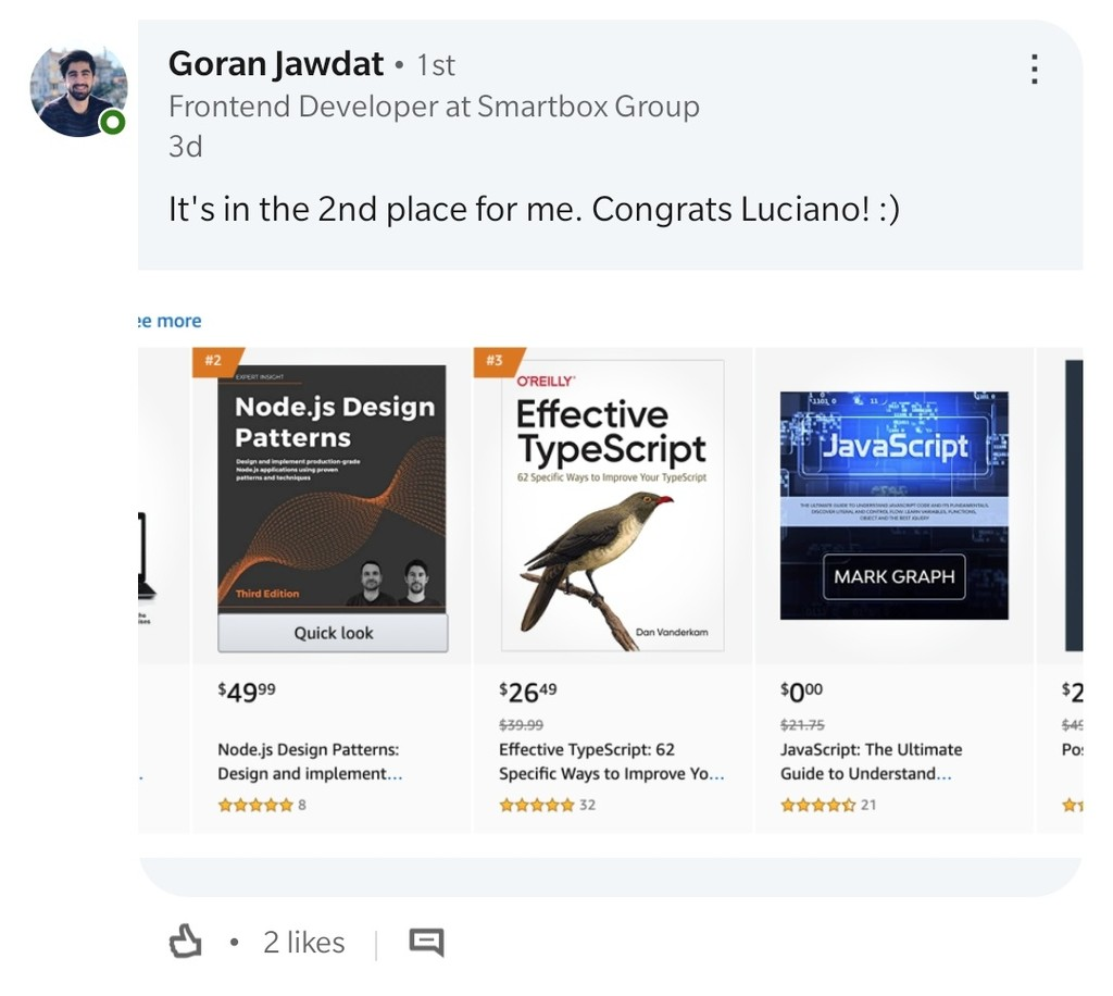 Node.js Design Patterns third edition second position on Amazon for the JavaScript category