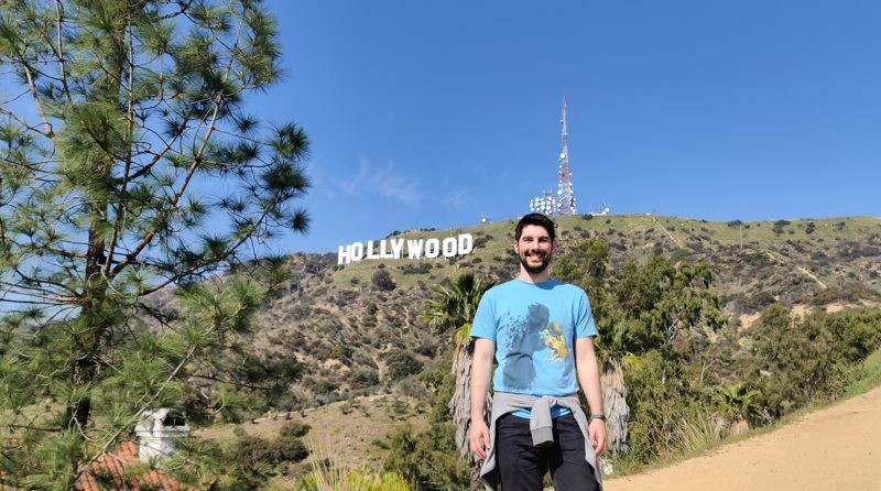Luciano Mammino at the Hollywood sign