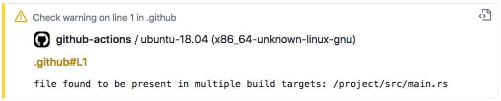 File found to be present in multiple build targets - screenshot from GitHub Actions