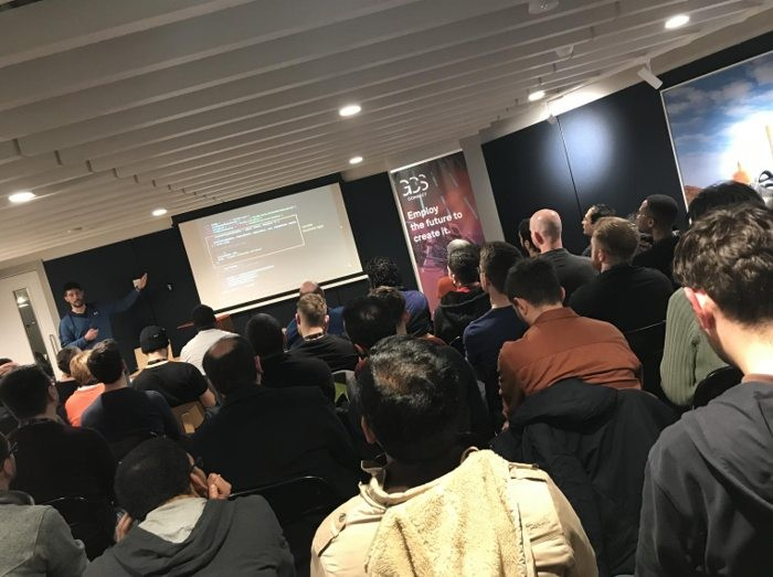 Luciano Mammino speaking at GCS Connect Serverless Dublin Meetup