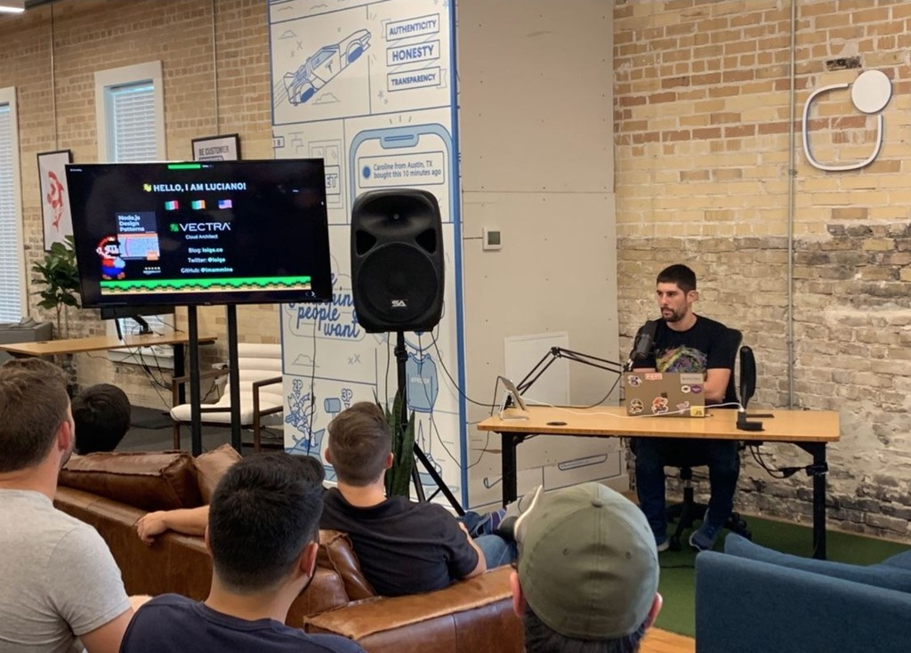 Luciano Mammino talks at AustinJS meetup